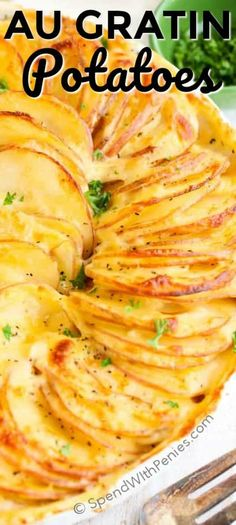 Potatoes Au Gratin is easy to make and is one of my favorite side dishes. This cheesy potato casserole has layers of thin potatoes with a quick homemade cheese sauce and is baked until browned and bubbly! Pretty enough for guests, easy enough for any day of the week! #spendwithpennies #casserole #augratin #cheese #potato #sidedish via @spendpennies