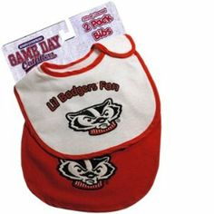 "Wisconsin Badgers Baby Bibs 2 Pack: One Red and One White by Jenkins Enterprises. $8.95. Machine Washable. NCAA Officially Licensed Product. 100% Cotton. 2 Pack of bibs: one red and one white. These Wisconsin Badgers baby bibs are sold in a 2 piece pack with one red bib and one white bib. They feature an embroidered logo on the front, with the printed words ""Lil Badgers Fan"" above. Brand new with packaging. These bibs measure 8"" wide by 11"" tall. NCAA Officially Licens..."