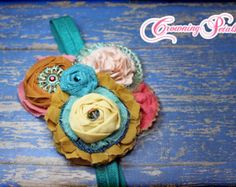Coral Teal Yellow Hair Accessory Turquoise by CrowningPetals