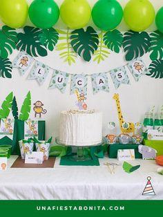 Kit imprimible Selva - kit imprimible selva fiesta imprimibles Source by Best Kadın Jungle Theme Birthday, Baby Boy 1st Birthday, Dinosaur Birthday Party, Safari Party, Jungle Party, Party Kit, Baby Party, Luau Party, Kids Party Themes