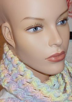 Scarf available at Captola at Etsy.com Pastel crochet scarf in fancy stitches