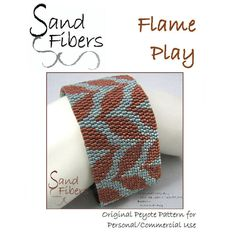 Peyote Pattern - Flame Play Peyote Cuff / Bracelet  - A Sand Fibers For Personal/Commercial Use PDF Pattern by SandFibers on Etsy https://www.etsy.com/listing/125746837/peyote-pattern-flame-play-peyote-cuff