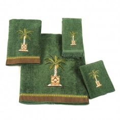 towels with palm trees | Banana palm towel setPeridot features embroidered Palm tree design on ...