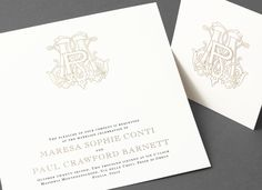 vera wang pewter wedding invitation with a gold monogram.   vera, Wedding invitations