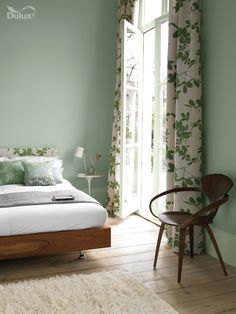 Green draws in our natural surroundings and evokes feelings of pure serenity. This colour can be both calm and exciting, a really dynamic mix.  Featuring Sea Urchin 3 by Dulux. (Mix Match Bedroom)