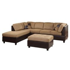 Our Sectional is simular to this but has a deep chocolate brown for the cushions and black as the leather on the bottom
