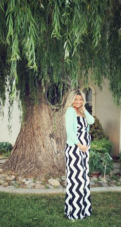 Black and White Chevron Maternity Maxi Dress with green sweater. #swellforever