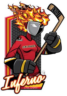 This season, our good friend Eric Poole has expanded his repertoire to include Canadian Women's Hockey League teams. This is the Calgary Inferno. Hockey Logos, Women's Hockey, Nhl Logos, Hockey Girls, Hockey Players, Sports Logos, Hockey Rules, Hockey Stuff, Hershey Bears