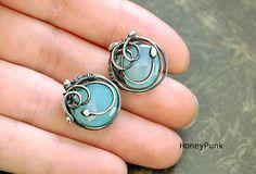 SeaMaiden earrings silver chalcedony by HoneyAndRings on Etsy, $76.00