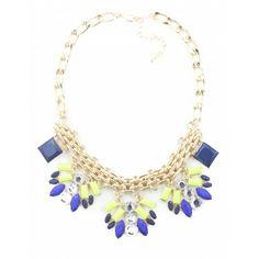 Elana Necklace - Royal Blue/Lime
