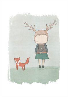 A3 Modern nursery wall art  Red Fox and Deer Girl by honeycup, $36.00