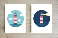 Day and night lighthouse wall art printable  by Godiche on Etsy