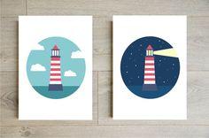 Day and night lighthouse wall art Illustration for kids on Godiche etsy shop // Illustration phare jour et nuit pour enfants
