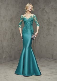 Pronovias Fiesta - Illusion Neckline Mermaid Evening Dress in Mikado Mermaid Evening Dresses, Evening Gowns, Elegant Dresses, Pretty Dresses, Dress Brokat, Groom Dress, Formal Gowns, Long Gowns, Beautiful Gowns