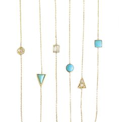Turquoise and Diamond Square Circle Triangle Necklace