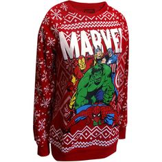 Marvel Comics Merry Christmas Avengers Ugly Holiday Sweatshirt ($28) via Polyvore featuring tops, hoodies, sweatshirts, christmas party tops, sweatshirt hoodies, red sweatshirt, red top and marvel comics