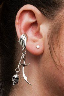 1ee1696b1d67 Cartilage Piercing Skull and Scimitar Ear Cuff Jewelry