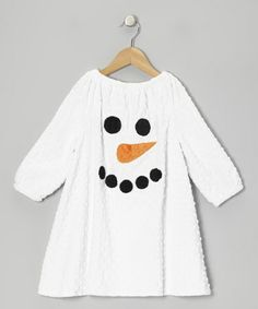 Take a look at this White Snowman Minky Dot Peasant Dress - Infant, Toddler & Girls by Lolly Gags on #zulily today!