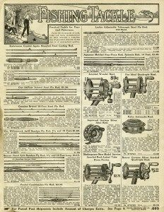3 pages in blog post: vintage fishing tackle, old catalogue page, fishing clip art, junk journal printable