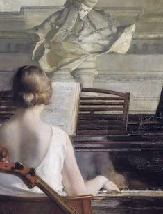 """(Detail) """"Adagio"""" by Georges Antoine van Zevenberghen Paint Themes, New Fine Arts, Piano Art, Classic Paintings, Detail Art, Art Music, Old Pictures, Figurative Art, Art Drawings"""