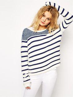Blue White Round Neck Striped Knit Sweater -SheIn(abaday)