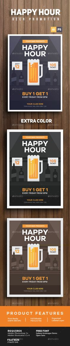 Happy Hour Beer Promotion Flyer Template PSD #design Download: http://graphicriver.net/item/happy-hour-beer-promotion-flyer/14265779?ref=ksioks