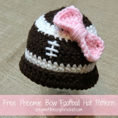 Are you tired of all the flowers? This preemie bow football hat is a good change! Make sure to make one for the game day! Make sure to share your finished projects on my Facebook Page!