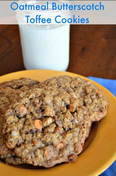 Do you love a good Oatmeal Cookie? I combined some of my favorite things in these Oatmeal Butterscotch Toffee Cookies.  They are not only super moist and have a great flavor, but they are also crunchy and chewy. http://recipesforourdailybread.com/2014/05/04/oatmeal-butterscotch-toffee-cookies/  #cookies #dessert #oatmeal cookies