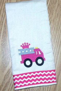 Baby Girl Burp Cloth - Pink Fire Truck / Personalized