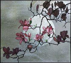 Magnolia in Moonlight ~ glass art by Robert Oddy