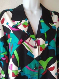 Adrianna Papell SZ 6 Top 100% Silk Bold Color Abstract Print Button Front Shirt  #AdriannaPapell #Blouse #EveningOccasion