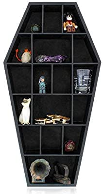 Gothic Curiosities Curio Coffin Shelf - Wooden Goth Decor for Display or Storage of Shot Glasses, Mini Figures, Rocks, and More - 18 by 9.5 by 2.5 Inches.As an Amazon Associate I earn from qualifying purchases. Diy Furniture Renovation, Furniture Decor, Goth Home Decor, Gothic House, Coffin, Shelves, Shot Glasses, Kitchen Dining, Kitchen Store