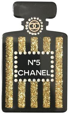 Chanel Black Gold Brooch Perfume N 5 Bottle Chanel Wall Art, Chanel Decor, Chanel Room, Chanel Baby Shower, Chanel Wallpapers, Chanel Party, Chanel Black, Coco Chanel, Chanel Perfume