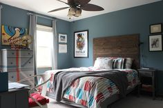 Boxy Colonial: Ari's Room: All Finished! Rustic-Industrial Tween Room-  Love the wall color!
