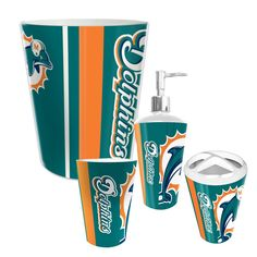 Miami Dolphins Complete Bathroom Accessories 4pc Set