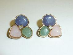 Vintage Avon Pastel Earrings Faux Stone Clear by labaublesandbags, $9.00