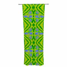 "Miranda Mol ""Ornamental Lace Green"" Green Blue Pattern Damask Mixed Media Digital Decorative Sheer Curtain from KESS InHouse"