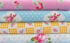 Shabby Chic Cottage Floral Fat Quarter Bundle-fabric, fat quarter, bundle, floral, lecien, flower, sugar, sewing, crafts, supplies, stripes, pink, green, yellow, seam binding, satin rose