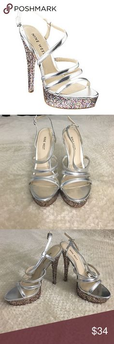 Nine West Arm Candy Heels Glitter & rhinestone accents | Platform/ Stiletto heel | 5.5-inch stiletto | Platform height: 1.5 inches | Size 7.5 | Worn once for prom | Great Condition | Nine West Shoes Heels