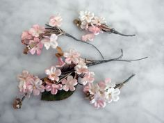 Vintage 1950's millinery flower 4 pc tiny satin flower bunches on wire stems