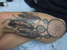 Dreamcatcher #tattoo #thigh #thigh tattoo #leg tattoo #dreamcatcher tattoo #ink #inked #tribal tattoo