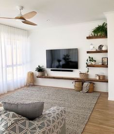 Living Room Tv, Home And Living, Tv On Wall Ideas Living Room, Small Living Rooms, Modern Living Room Designs, Living Room Shelf Decor, Modern Living Room Decor, Small Apartment Living, Living Room Colors