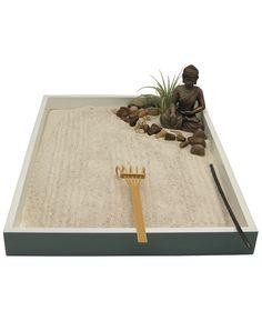 Miniature Zen Garden with Buddha Statue Indoor Zen Garden, Mini Zen Garden, Meditation Supplies, Miniature Zen Garden, Crystal Room, Zen Garden Design, Buddha Decor, Japanese Tree, Buddhist Meditation