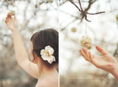 Loose wedding hair and hanging objects? Yes please.