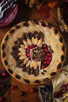 Creative edible decorations on the delicate pies by Helen Nugent, www Holiday Pies, Holiday Baking, Köstliche Desserts, Delicious Desserts, Elegant Desserts, Yummy Food, Fall Recipes, Holiday Recipes, Pie Recipes