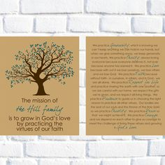 Family Mission Statement Set of Two - Virtues Print