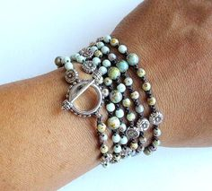 Delicate, softly colored, One of a kind, beaded crochet wrap bracelet or necklace made of Czech Picasso finished and fire polished beads in pale