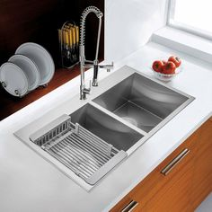 Kitchen Sink Remodel AKDY Handcrafted All-in-One Drop-In Stainless Steel 30 in. x 18 in. x 9 in. Single Bowl Kitchen Sink with Tray and Drain - Apron Sink Kitchen, Double Bowl Kitchen Sink, Farmhouse Sink Kitchen, Kitchen Sink Faucets, Kitchen And Bath, New Kitchen, Top Mount Kitchen Sink, Gold Kitchen, Kitchen Redo