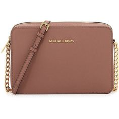 MICHAEL Michael Kors Jet Set Travel Large Crossbody Bag (2.166.125 IDR) ❤ liked on Polyvore featuring bags, handbags, shoulder bags, dusty rose, travel crossbody, chain crossbody, travel shoulder bag, brown purse and brown crossbody