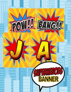 SUPERMAN  Happy Birthday Banner 3 / Bunting for by KROWNKREATIONS, $3.99